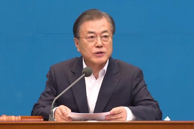 臨時閣議で発言する韓国の文在寅(ムン・ジェイン)大統領(写真は青瓦台の動画から)