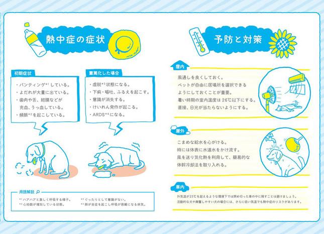 動物病院やペットショップで配布している「イヌ・ネコの熱中症予防対策マニュアル」