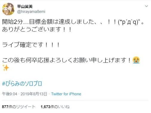 早々の目標1000万円超え達成に驚く平山さんのツイート