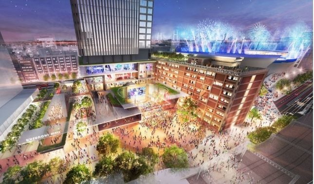 横浜市庁舎再開発のイメージ図(横浜市報道資料より)