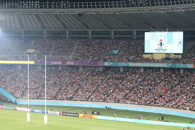 アジア初開催となる「ラグビーW杯2019日本大会」開幕戦、日本代表―ロシア代表。スタジアムは観客で満員となった
