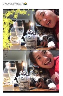 ブログより。一緒に祝ってくれたのは愛猫だけ