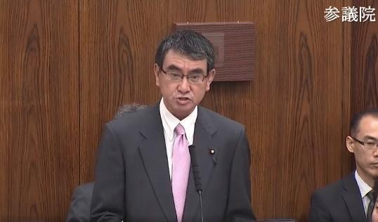 河野防衛相は参院外交防衛委員会で、前日の自身の発言について言及した(画像は、参院インターネット審議中継動画より)