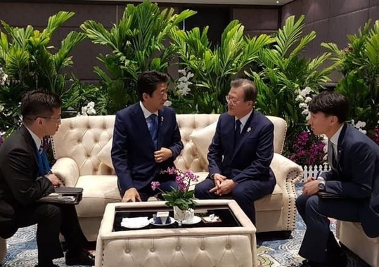 日韓首脳の会話はGSOMIA延長につながるのか(写真は韓国大統領府(青瓦台)ウェブサイトから)