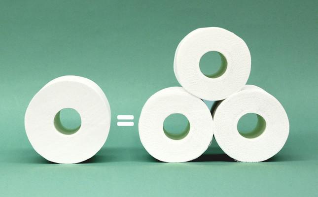 現在のトイレットペーパーは「1ロール=75メートル」。以前の25メートルに比べ、3倍も長持ちする
