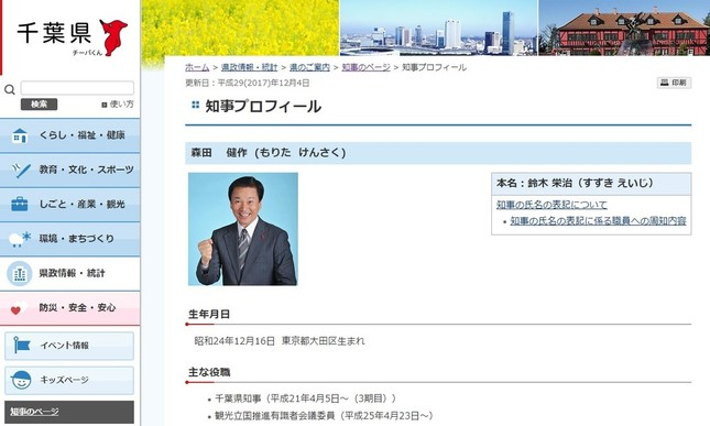 千葉県庁サイトの森田知事プロフィールのページ
