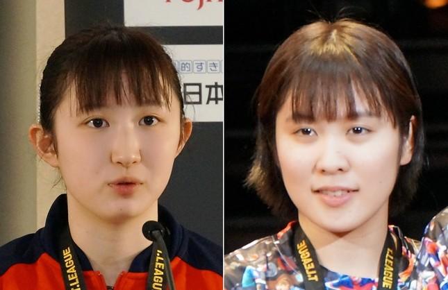 早田ひな選手、平野美宇選手(19年3月撮影)
