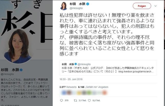 杉田氏の削除されたツイート