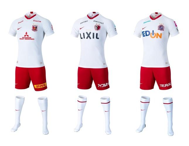 ナイキジャパンが発表した2020年の(左から)浦和、鹿島、広島の新アウェーユニフォーム。