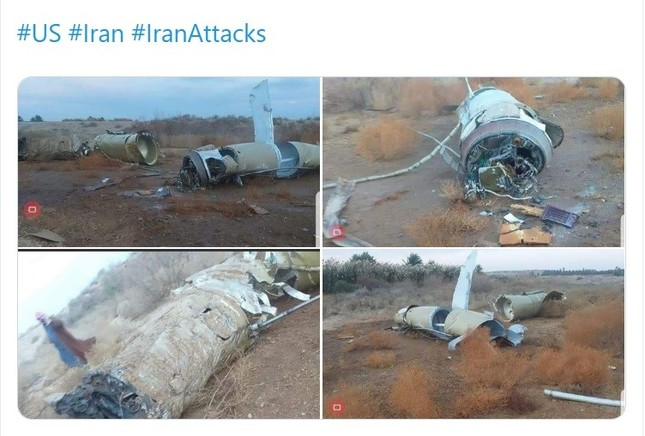 ミサイルの残骸がアサド空軍基地から30キロ離れた場所で発見された。キアム型とみられるという(写真はイラク諮問評議会(IAC)のファハド・アラアルディン議長のツイートから)