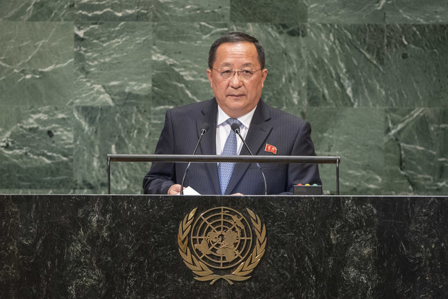 2018年9月の国連総会で演説する北朝鮮の李容浩(リ・ヨンホ)外相。最近になって交代させられたとの見方が出ている(UN Photo/Cia Pak)