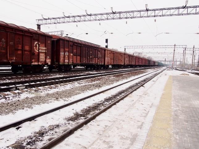 シベリア鉄道の主役はあくまでも貨車。主要駅には長編成の貨物列車が停車している