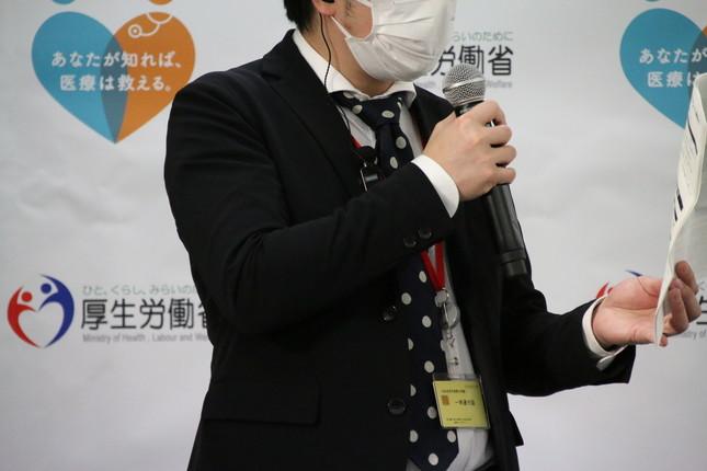 開会前には進行係からマスクに関するアナウンスがなされた