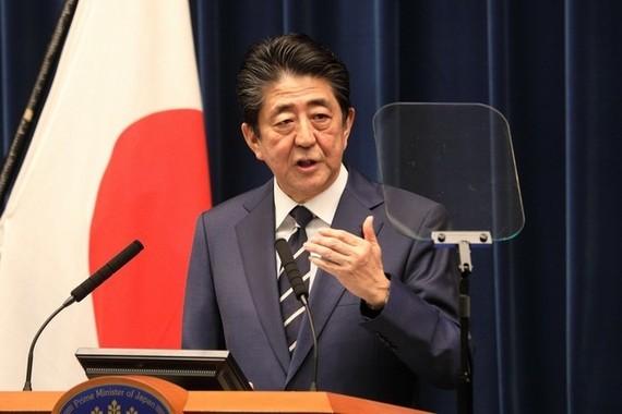 安倍晋三首相が新型コロナウイルス感染拡大をうけて会見を開いた(2020年2月29日撮影)