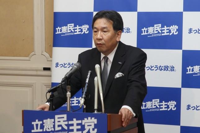 定例記者会見に臨む立憲民主党の枝野幸男代表