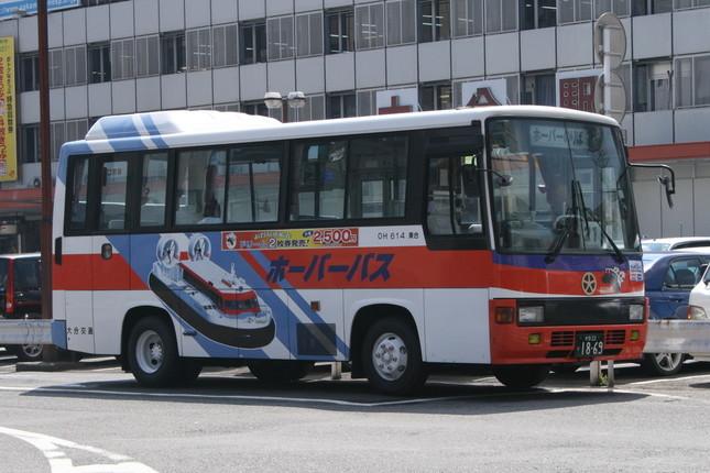 大分市内の発着場と大分駅の間にはシャトルバスが運行されていた(2007年撮影)