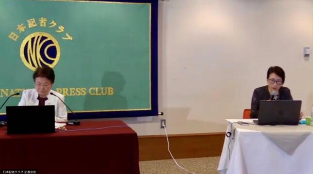 異例の「オンライン」で行われた会見(左は日本看護協会・福井トシ子会長)