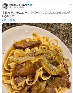 こちらは内田雄馬さんが投稿した画像。ただ単によくあるテーブル柄のようなのに...
