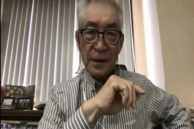 オンラインで記者会見する2018年のノーベル生理学・医学賞受賞者の本庶佑(ほんじょ・たすく)・京都大特別教授