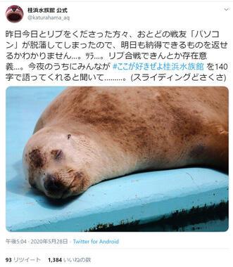 桂浜水族館公式ツイッターより。おとどちゃんの呼びかけ