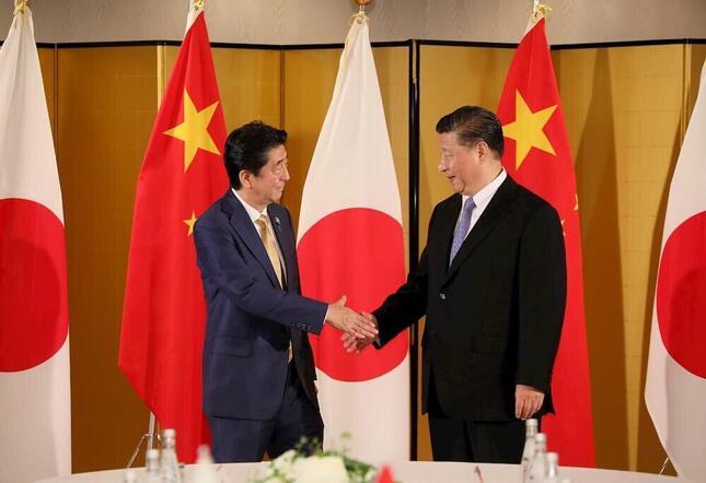 2019年のG20大阪サミットで来日した中国の習近平国家主席(右、首相官邸ウェブサイトより)