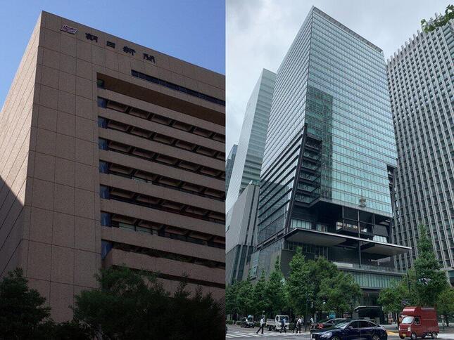朝日新聞東京本社(左)と産経新聞東京本社