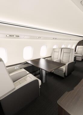 ボンバルディア製「Global 6000」の機内。シートは当然、革張りだ(ANAビジネスジェット提供)