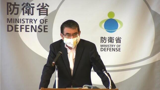 河野防衛相のマスク姿(防衛省公式YouTubeチャンネルより)