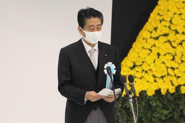 2020年8月15日に開かれた政府主催の全国戦没者追悼式に出席した安倍晋三首相