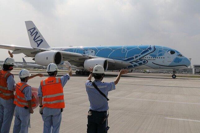 全日空(ANA)のA380型機が乗客を乗せてフライトするのは5か月ぶりだ