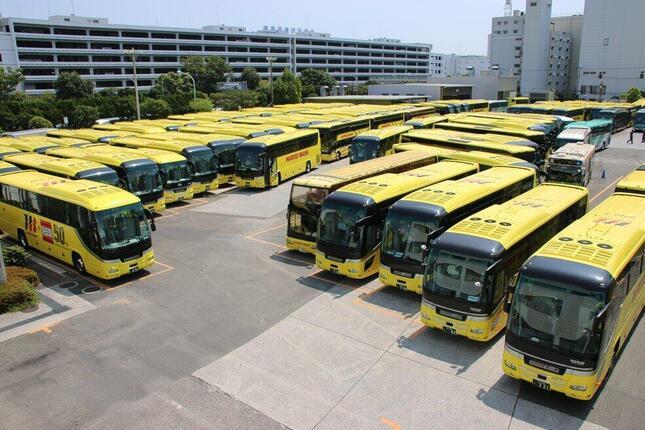 「はとバス」の本社にある駐車場では観光バス100台超が隙間なく「待機」していた(2020年8月25日、東京都大田区)