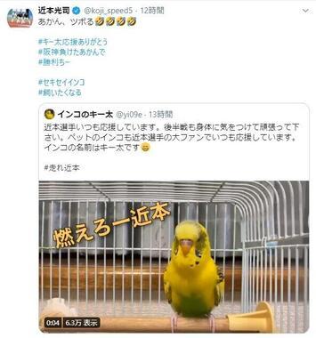 阪神・近本光司選手がツイッターで反応した「応援歌」動画。