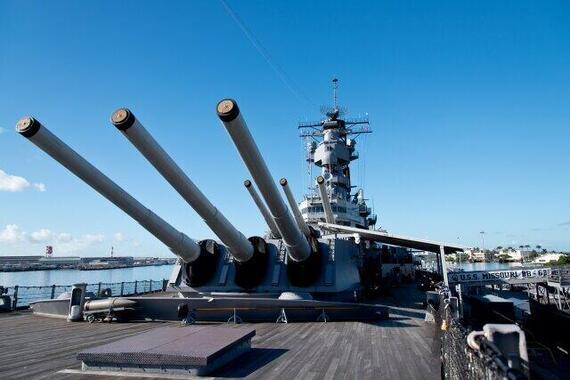 1945年9月2日に降伏文書調印が行われた米戦艦「ミズーリ」。現在はハワイで保存
