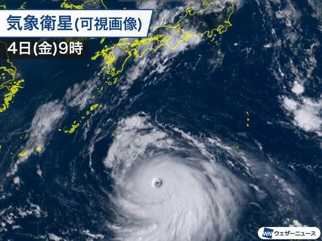 「史上最強クラス」の台風10号のアジア名「Haishen(ハイシェン)」、由来は?(画像は9月4日9時現在の進路図、ウェザーニュース提供)