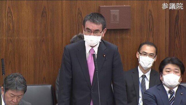 河野太郎行革担当相(写真は防衛相時代の参議院インターネット中継より)