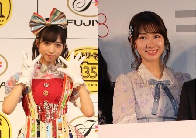 AKB48の小栗有以さん(左)と柏木由紀さん(右)。それぞれ火曜日、水曜日の番組に出演している