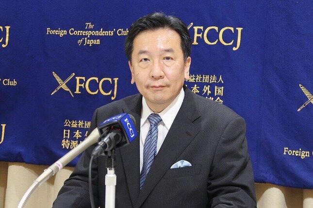 日本外国特派員協会で記者会見する立憲民主党の枝野幸男代表