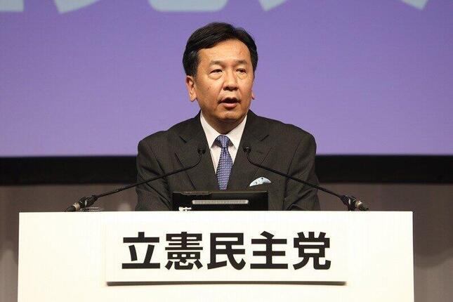 立憲民主党の枝野幸男代表。9月15日の結党大会後の記者会見では、消費減税を選挙の争点にすることには否定的な考えを示した