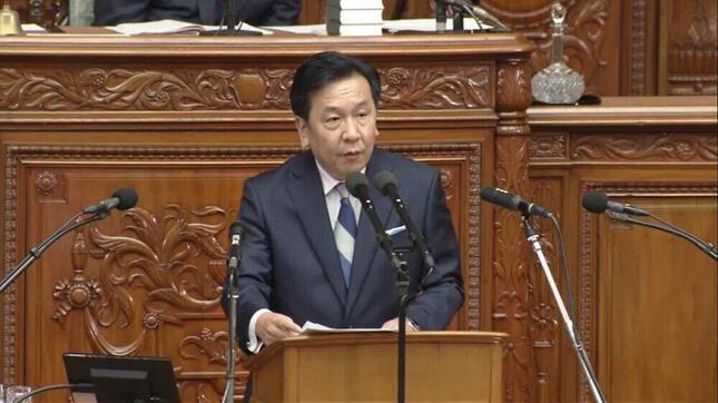 代表質問に立つ立憲民主党の枝野幸男代表(写真は衆院インターネット審議中継から)