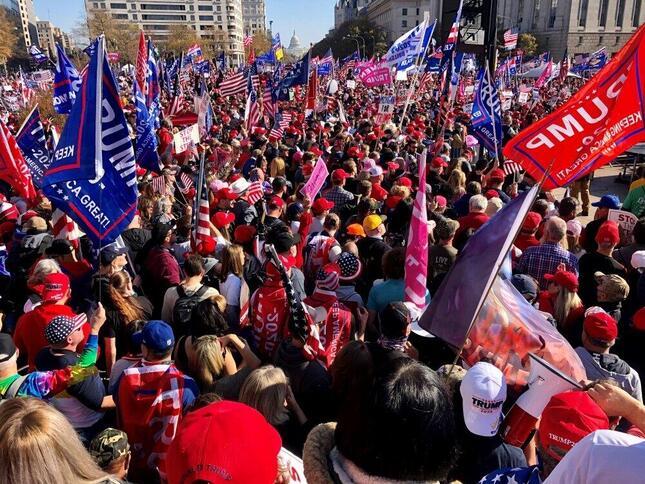 ワシントンで大統領選の「不正」に抗議するデモに集まったトランプ支持者。中央後方に見える 合衆国議会議事堂に向かった(2020年11月14日、筆者撮影)