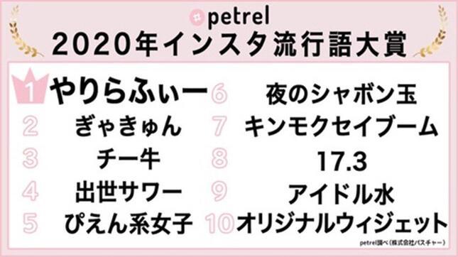 【画像】2020年インスタ流行語大賞の一覧(Petrelのニュースリリースより)