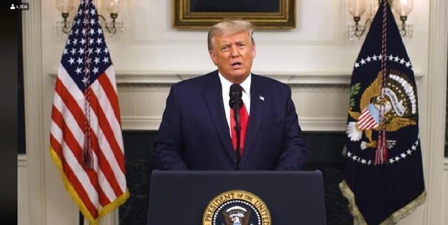 2020年12月2日にフェイスブックで公開されたホワイトハウスで演説するトランプ大統領の映像。報道陣は呼ばれなかった(トランプ氏の公式フェイスブックの動画から)