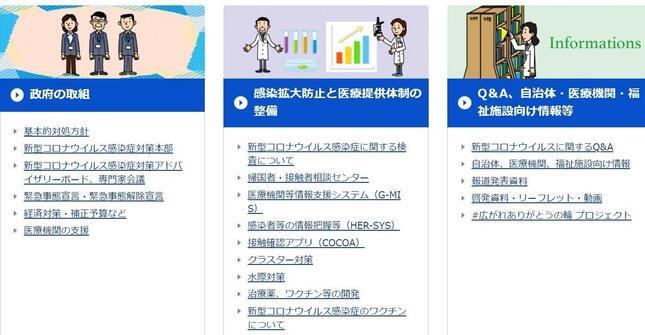 厚生労働省の公式サイトには、PCR検査を含む「新型コロナウイルス感染症に関する検査について」に関する情報を集めたコーナーもある。