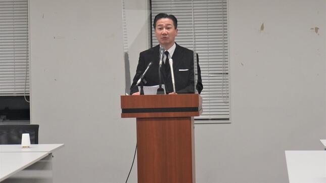 会見に臨む福山幹事長(立憲民主党公式サイトより)