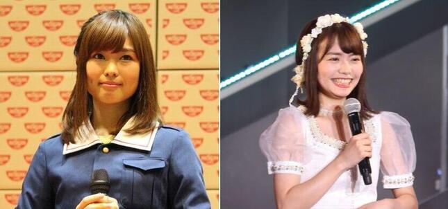 声優の渕上舞さん(左、2016年撮影)とHKT48の渕上舞さん(右、2020年撮影)