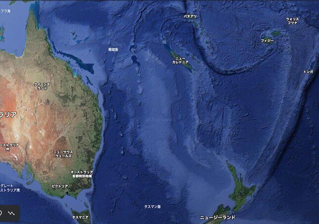 南太平洋地域(画像はグーグルアースから)