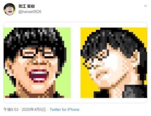 花江夏樹さんがツイッターに以前(2020年4月5日)投稿した、自身の「似顔絵」アイコン画像(花江さんツイッターより)
