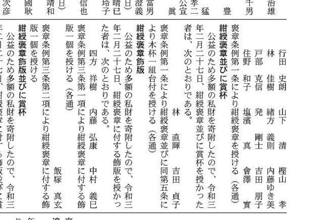 2021年3月9日付けの官報。18人の名前が掲載されているうち、10番目にYOSHIKIさんの本名「林佳樹」が確認できる(写真では2行目の1人目)。