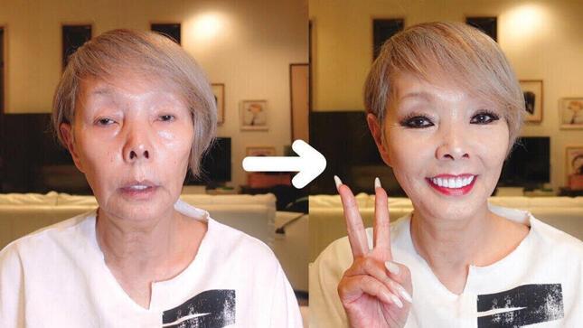 研ナオコさんのすっぴんとメイク後の姿(研ナオコさんの公式YouTube動画より)