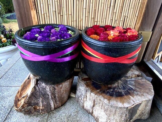 紫のトルコ桔梗の花言葉は「希望」、赤のバラは「情熱」、両方に使用されてる緑の紫陽花は「ひたむきな愛」だという